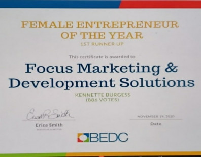 Parent Company FOCUS Wins Bermudas 2020 Female Entrepreneuer of The Year Award 1st Runner Up