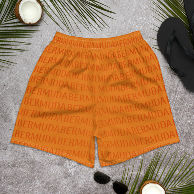 Bermuda LOVE - (Orange) Unisex/Men's  Swimwear (Athletic Shorts) (CUSTOM PRE-ORDER ONLY)