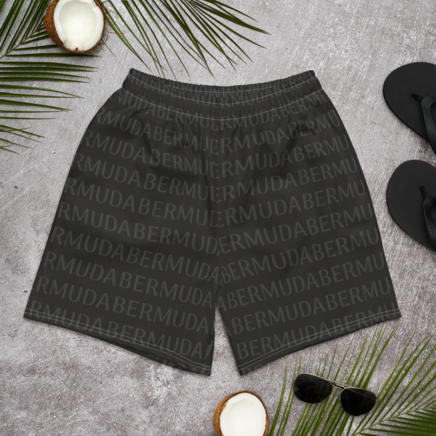 Bermuda LOVE - (Black) Unisex/Men's  Swimwear (Athletic Shorts) (CUSTOM PRE-ORDER ONLY)