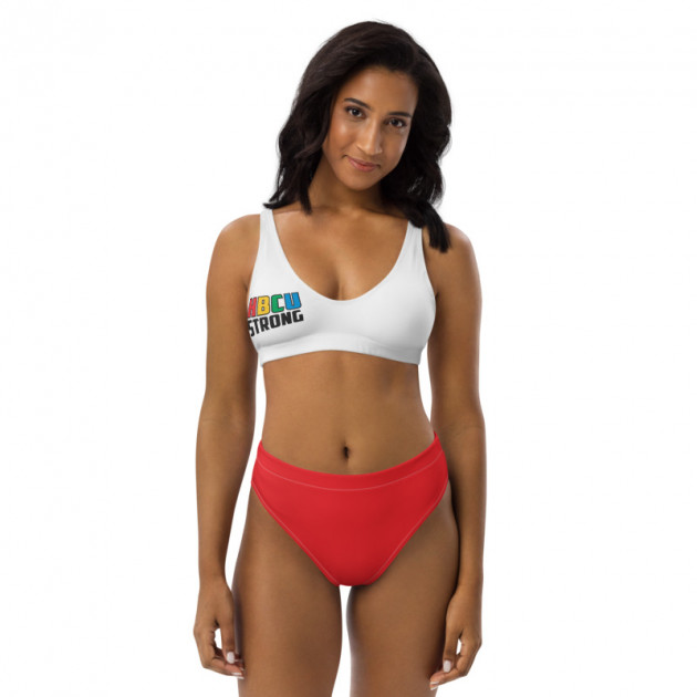 I LOVE MY HBCU (HBCU STRONG)  (Red White ) - Women's Two Piece High-Waisted Bikini (CUSTOM PRE-ORDER ONLY)