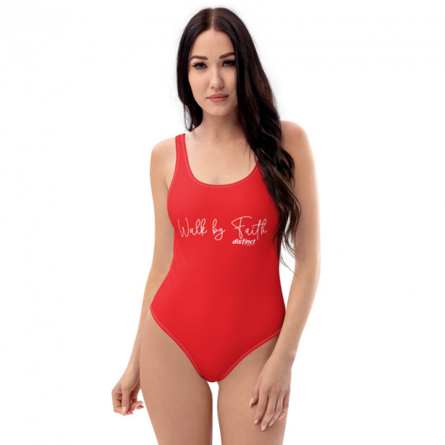 WALK BY FAITH - (PICK ANY COLOR) Women's One Piece Swimwear (CUSTOM PRE-ORDER ONLY)