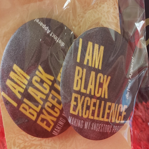 I AM BLACK EXCELLENCE - HANDMADE FABRIC BUTTON EARRINGS