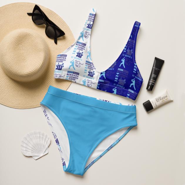 $50 Bermuda CupMatch - St. George's ( PICK YOUR TEAM ) Women's Two Piece High-Waisted Bikini (CUSTOM PRE-ORDER ONLY)